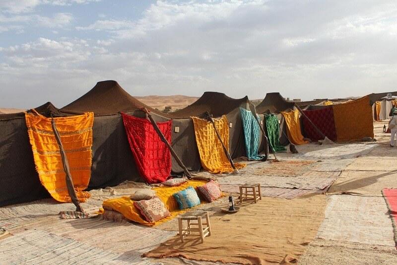 Dromedario y jaimas en el desierto de Merzouga